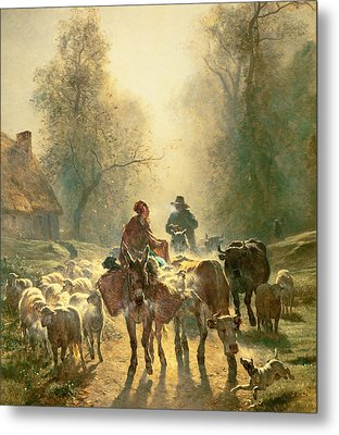 Setting Off For Market Metal Print by Constant-Emile Troyon