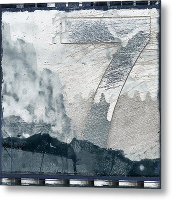 Seven On Blue Metal Print by Carol Leigh