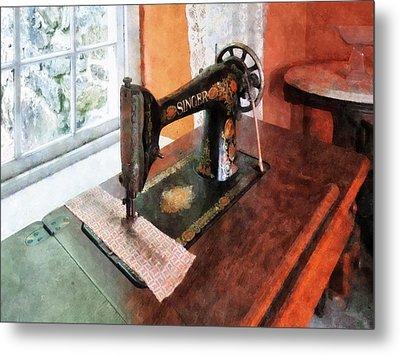 Sewing Machine Near Lace Curtain Metal Print by Susan Savad