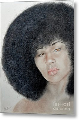 Sexy Aevin Dugas Holder Of The Guinness Book Of World Records For The Largest Afro Metal Print by Jim Fitzpatrick