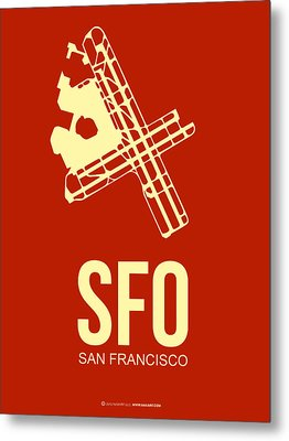 Sfo San Francisco Airport Poster 2 Metal Print by Naxart Studio