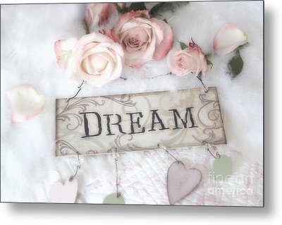 Shabby Chic Cottage Pink Roses Dream - Shabby Chic Dreamy Romantic Pink Roses - Dream Decor Metal Print by Kathy Fornal