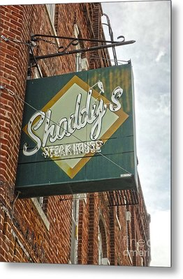 Shaddys Steakhouse Sign Montezuma Iowa Metal Print by Gregory Dyer