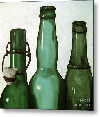 Shades Of Green - Bottles Metal Print by Linda Apple