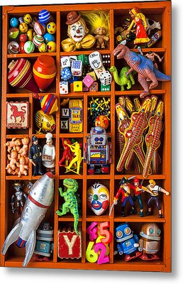 Shadow Box Full Of Toys Metal Print by Garry Gay