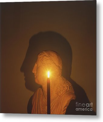 Shadow Of A Bust In Candle Light Metal Print by Dave King / Dorling Kindersley / Science Museum, London