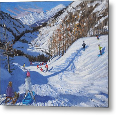 Shadow Of A Fir Tree And Skiers At Tignes Metal Print by Andrew Macara