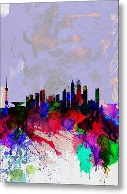 Shanghai Watercolor Skyline Metal Print by Naxart Studio