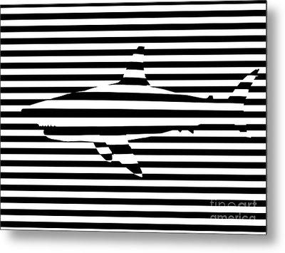 Shark Optical Illusion Metal Print by Pixel Chimp