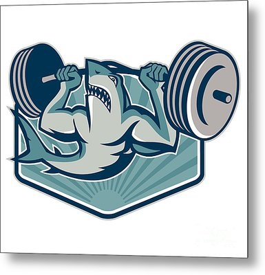 Shark Weightlifter Lifting Weights Mascot Metal Print by Aloysius Patrimonio