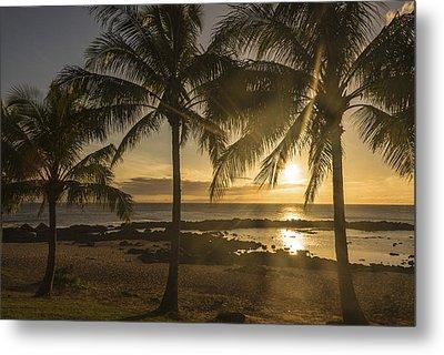 Sharks Cove Sunset 2 - Oahu Hawaii Metal Print by Brian Harig