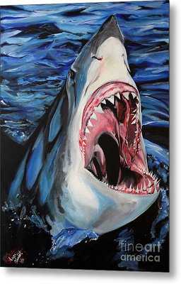 Sharks Get Smart Metal Print by Lambert Aaron