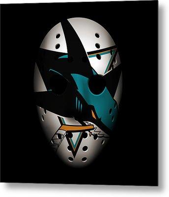 Sharks Goalie Mask Metal Print by Joe Hamilton