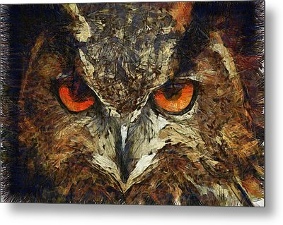 Sharpie Owl Metal Print by Ayse Deniz