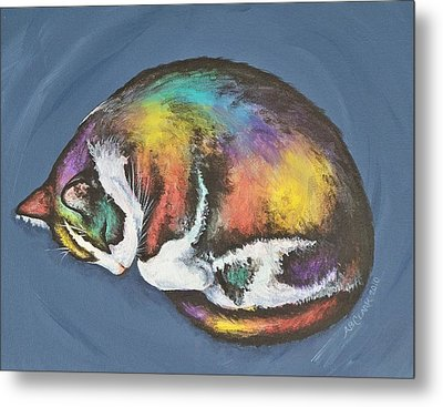She Purrs In Color Metal Print by Beth Clark-McDonal
