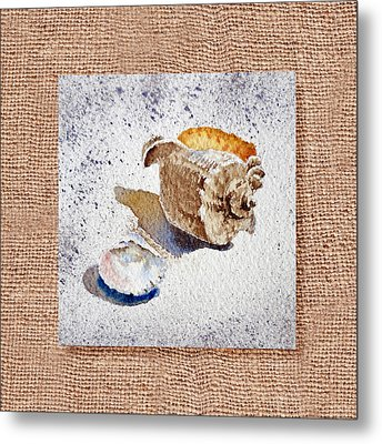 She Sells Sea Shells Decorative Collage Metal Print by Irina Sztukowski