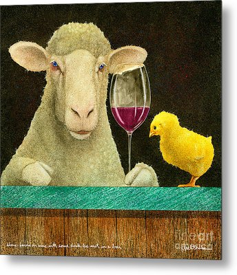 Sheep Faced On Wine With Some Chick He Met In A Bar... Metal Print by Will Bullas