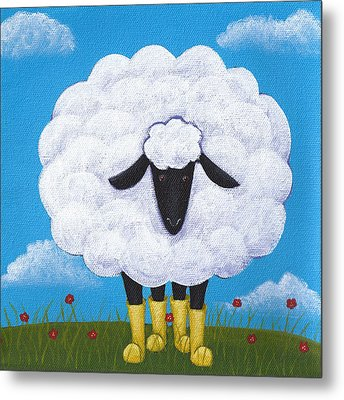 Sheep Nursery Art Metal Print by Christy Beckwith