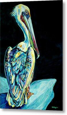 Shelter Island Pelican Metal Print by Derrick Higgins
