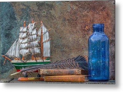 Ship Bottle Books Still Life Metal Print by Randy Steele