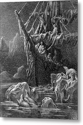 Ship In Antartica Metal Print by Gustave Dore