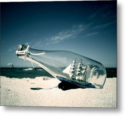 Ship In The Bottle Metal Print by Michal Bednarek