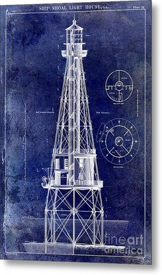 Ship Shoal Light House Blueprint Metal Print by Jon Neidert