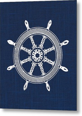 Ship Wheel Nautical Print Metal Print by Jaime Friedman