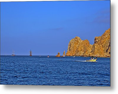 Ships Lining Up At Land's End Metal Print by Christine Till