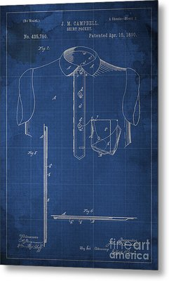 Shirt Pocket Blueprint Patent Metal Print by Pablo Franchi