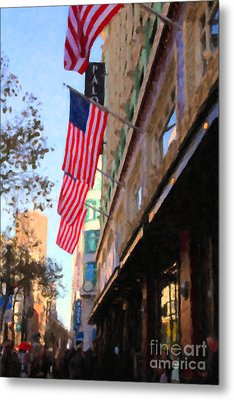 Shopping Along Market Street In San Francisco - 5d20717 Metal Print by Wingsdomain Art and Photography