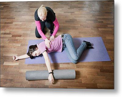 Shoulder And Back Physiotherapy Metal Print by Thomas Fredberg