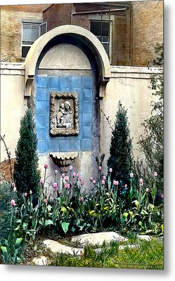 Shrine And Tulips Metal Print by Terry Reynoldson