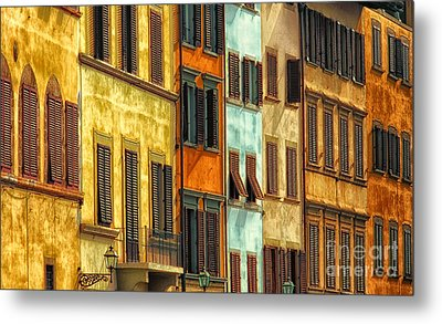 Shuttered Windows Of Florence Metal Print by Mike Nellums
