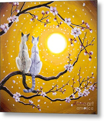 Siamese Cats Nestled In Golden Sakura Metal Print by Laura Iverson
