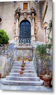 Sicilian Village Steps And Door Metal Print by David Smith