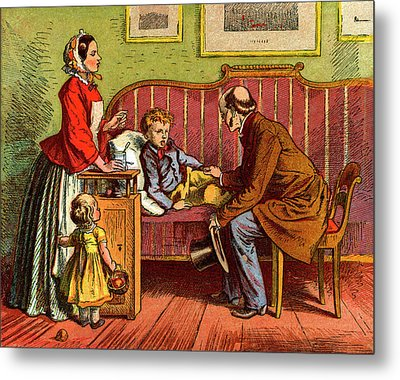 Sick Child Visited By The Doctor Metal Print by Universal History Archive/uig