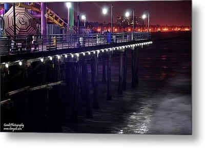 Side Of The Pier - Santa Monica Metal Print by Gandz Photography