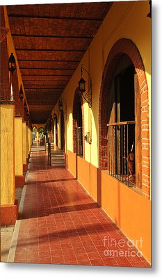 Sidewalk In Tlaquepaque District Of Guadalajara Metal Print by Elena Elisseeva