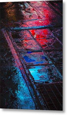 Sidewalk Reflections Metal Print by Garry Gay