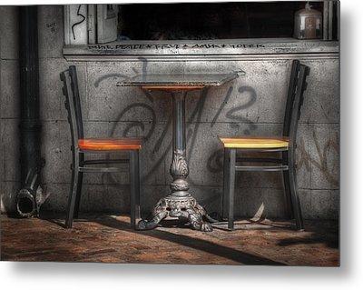 Sidewalk Seating Metal Print by Brenda Bryant