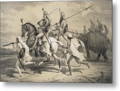Sikh Chieftans Going Hunting Metal Print by A. Soltykoff