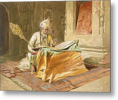 Sikh Priest Reading The Grunth Metal Print by William 'Crimea' Simpson