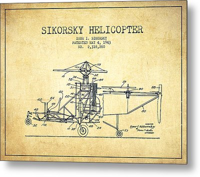 Sikorsky Helicopter Patent Drawing From 1943-vintage Metal Print by Aged Pixel