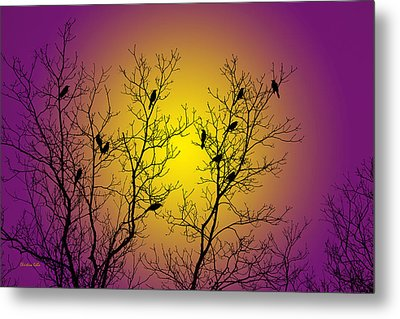 Silhouette Birds Metal Print by Christina Rollo