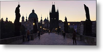 Silhouette Of Statues On Charles Bridge Metal Print by Panoramic Images
