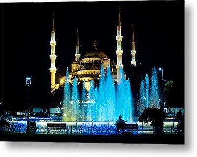 Silhouettes Of Blue Mosque Night View Metal Print by Raimond Klavins
