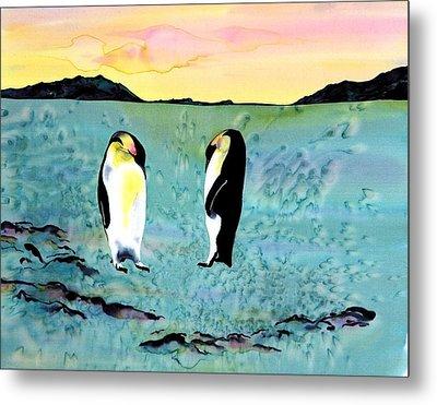 Silk Penguins Metal Print by Carolyn Doe