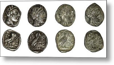Silver Athena Coins Metal Print by Photostock-israel