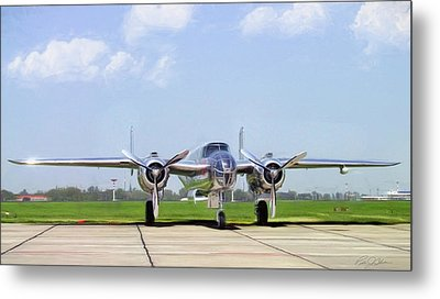 Silver Bird B-25 Metal Print by Peter Chilelli